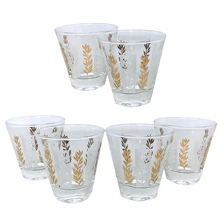 1960s Mid-Century White & Gold Double Shot Glasses - Set of 6 For Sale