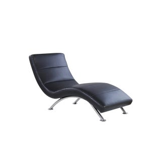 Minimalist Black Leatherette Chaise Lounge