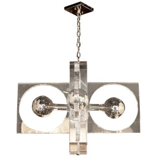 Mid-Century Modern Rectilinear Lucite and Chrome Chandelier For Sale