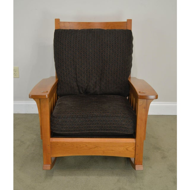 Mission Stickley Mission Collection Solid Cherry Rocker For Sale - Image 3 of 13