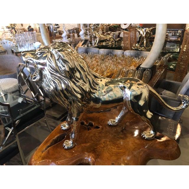 Vintage Polished Brass Monumental Roaring Lion Animal Statue For Sale - Image 13 of 13