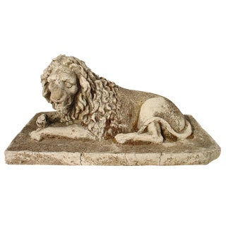 Antique Stone Lion Statue from France, Circa 1860 For Sale