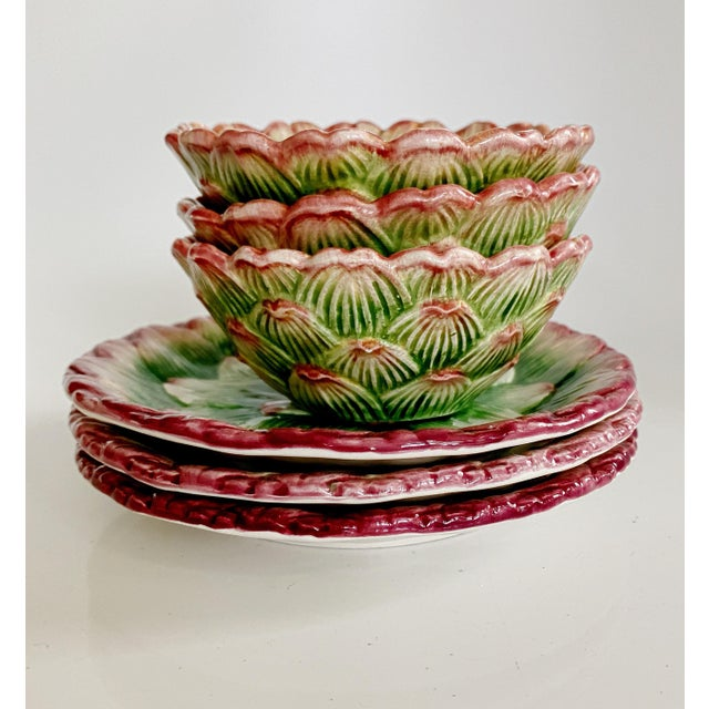 Fitz and Floyd Artichoke Ceramic Serving Bowls and Plates Set - 6 Pieces For Sale - Image 9 of 13