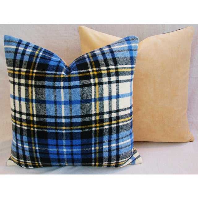 """Vintage Scottish Tartan Plaid Wool Feather/Down Pillows 24"""" Square - Pair For Sale In Los Angeles - Image 6 of 11"""