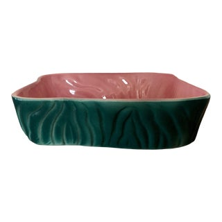 Vintage Mid-Century Green and Pink Pottery Planter For Sale