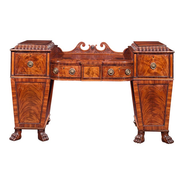 Regency Mahogany Pedestal Sideboard For Sale