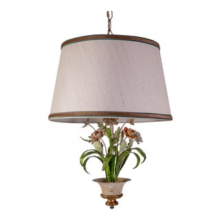 1950s Tole Floral Pendant Light For Sale