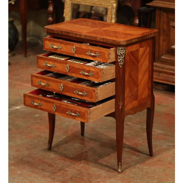 Early 20th Century Louis XV Walnut Marquetry Chest With Silverware, 145 Pieces For Sale - Image 13 of 13