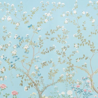 Sample - Schumacher X Miles Redd Madame De Pompadour Wallpaper in Aqua For Sale