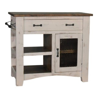 "Crafters and Weavers Greenview Kitchen Island - Distressed White - 39"" For Sale"