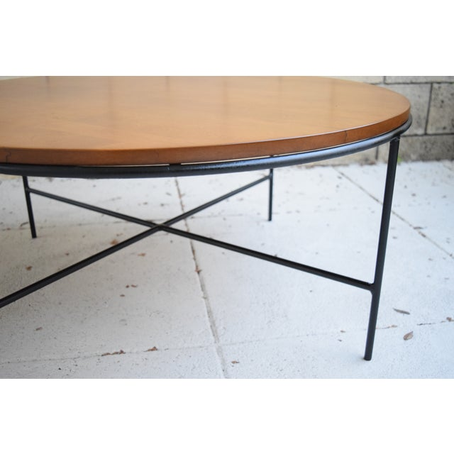 Paul McCobb Mid Century Modern Iron Base Round Coffee Table - Image 5 of 11