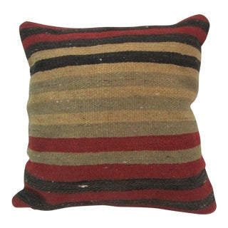 Vintage Handwoven Striped Turkish Kilim Pillow Cover For Sale