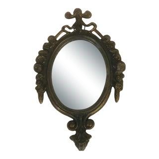 Mini Wall Mirror in Italian Metal Frame For Sale