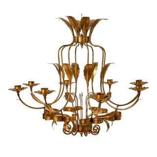 Vintage Gold Painted Eight Arm Iron Chandelier Frame For Sale