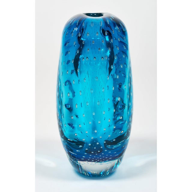 """Blue Murano Glass """"Sommerso"""" Vase For Sale - Image 9 of 10"""