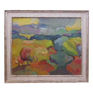 Vibrant American Mid-Century Abstract Landscape Painting, Signed 'Marse' For Sale