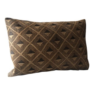 Vintage Tan and Brown Kuba Embroidery African Decorative Pillow For Sale