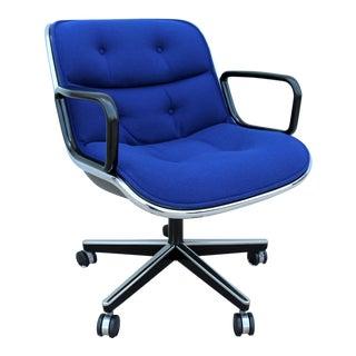 1963 Vintage Mid-Century Modern Knoll Pollock Executive Chair in Blue Fabric