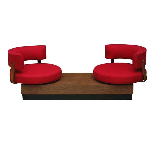 Adrian Pearsall 1970s Mid-Century Modern Red Swivel Lounge Chairs Sofa on Platform Base For Sale - Image 4 of 8