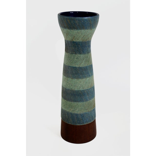Very rare Bitossi vase with delicately incised brown lines zig-zagging down a conical form ringed in pale green and blue....