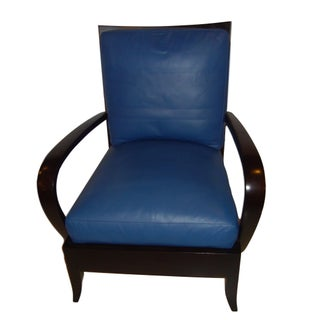 Dakota Jackson Leather Blue Arm/Lounge Chair For Sale