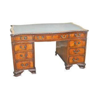 Georgian Antique English Mahogany Serpentine Pedestal Base Leather Top Desk For Sale