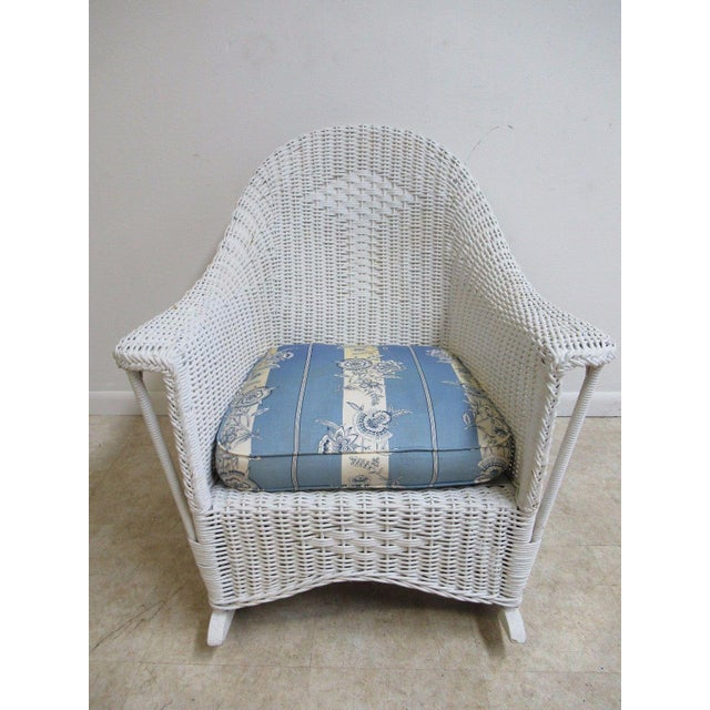 Antique Wicker Outdoor Patio Rocking Chair - Image 2 of 7