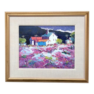 California Impressionist Pastel Landscape Oil Painting For Sale