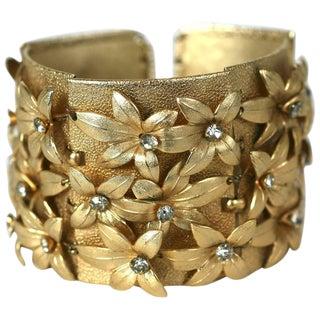 Napier Gilt Flower Cuff Bracelet For Sale