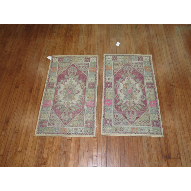 Vintage Turkish Rugs - a Pair - 2'8'' x 4'8'' For Sale - Image 4 of 9