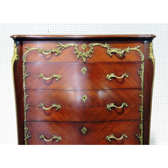 Regency style 5 drawer high chest with bronze mounts.