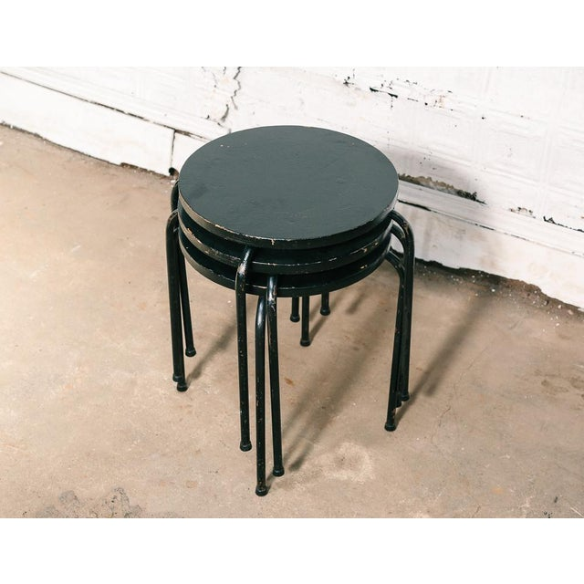 Industrial Set of 3 Stacking Stools / Side Tables For Sale - Image 3 of 8