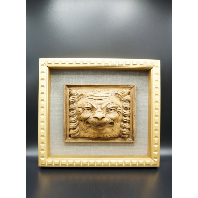 Metal 19th Century Framed Lion Head Fragment For Sale - Image 7 of 7