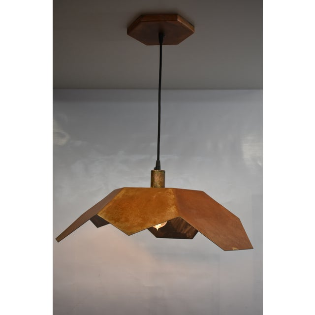 2010s Oblik Studio Inc Light Tan Patina Ceiling Pendant For Sale - Image 5 of 5