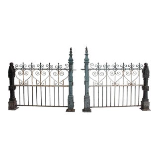Mid 19th Century Antique Custom Made Cast Iron Fence- A Pair For Sale