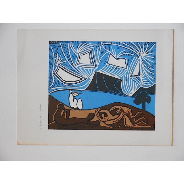This vibrant image by the famous modernist Pablo Picasso. This lithograph (offset) has some text on the reverse. A great...