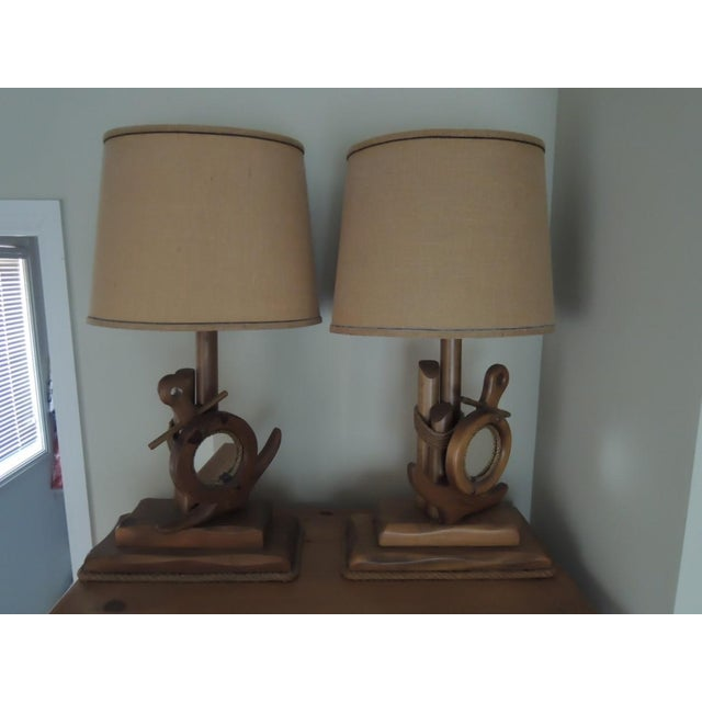 Nautical Nautical Hand Crafted Pine Wood Lamps - A Pair For Sale - Image 3 of 13