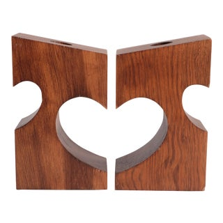 Heart to Heart Wood Candlesticks - a Pair For Sale