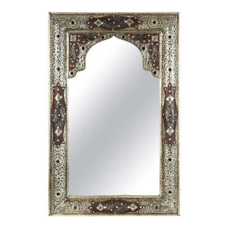 Moroccan Mirror with Silver Filigree and Repousse Metal For Sale