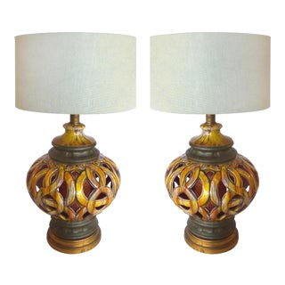 1960s Pierced Ceramic Table Lamps - a Pair