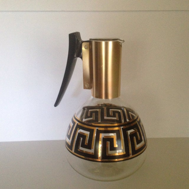 Mid-Century Modern Mid-Century Greek Key Glass Coffee Carafe For Sale - Image 3 of 11