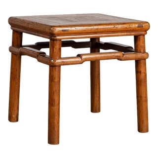 Chinese Ming Style Vintage Natural Wood Side Table with Humpback Stretcher For Sale