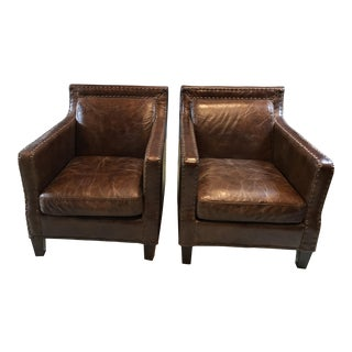 Timothy Oulton Leather Studded Armchairs