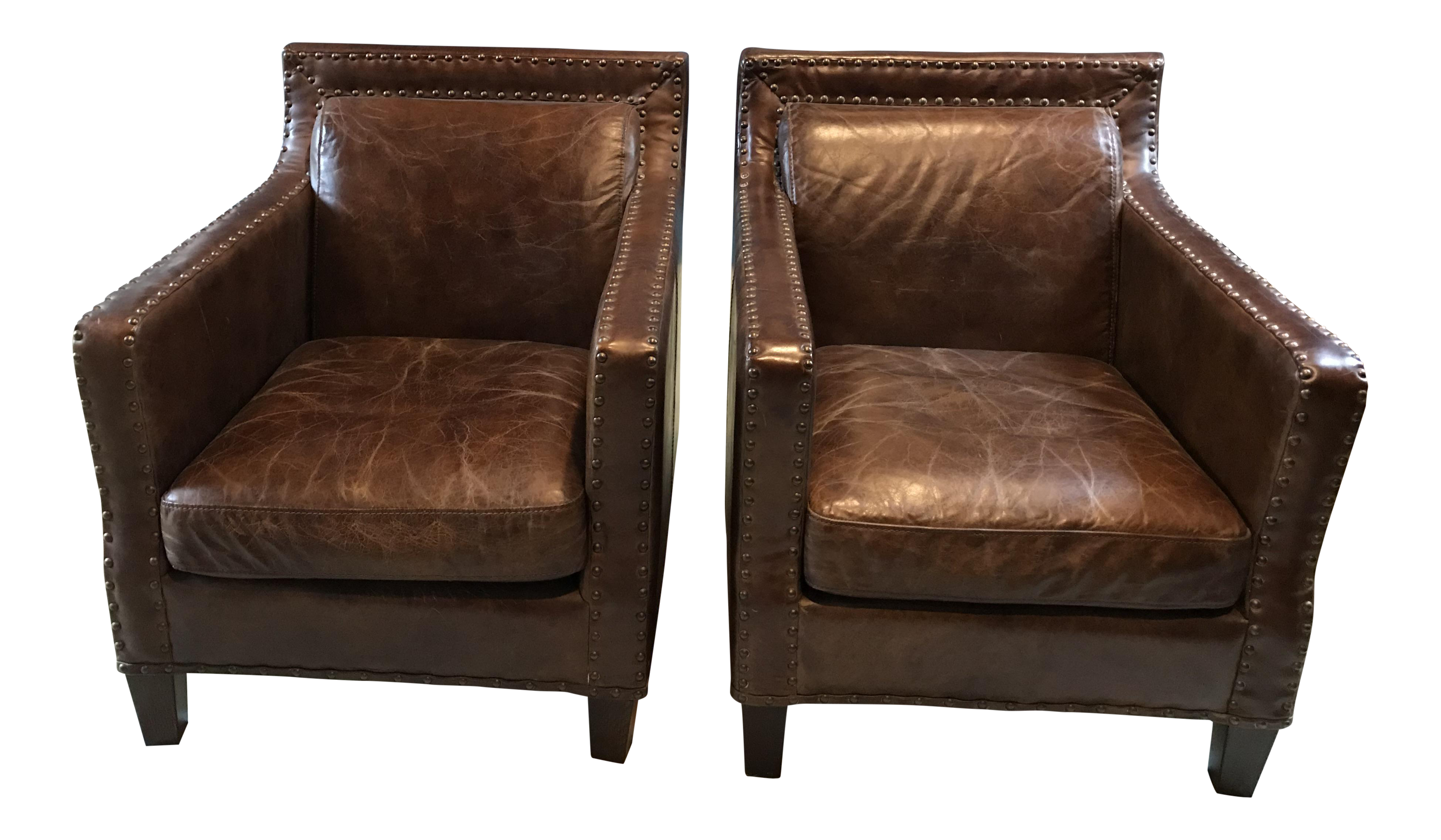 Beau Timothy Oulton Leather Studded Armchairs