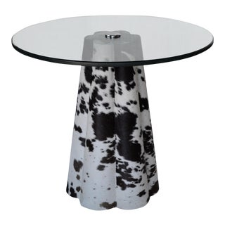 Jayson Home & Garden Cowhide & Glass-Topped Table