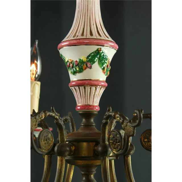 Vintage Italian Raised Capodimonte Chandelier - Image 3 of 8