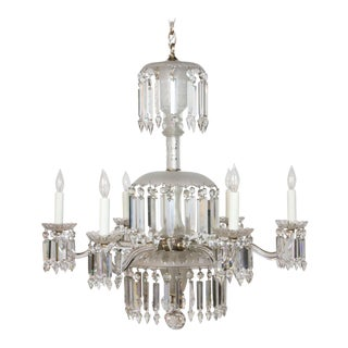 Six Arm Frosted Crystal Gasolier For Sale