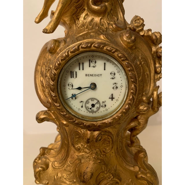 Fine Antique Gilt Gold Louis XIV Style Novelty Clock By Benedict MFG.CO. It is working. Gild Gold . Marked. 19 century....
