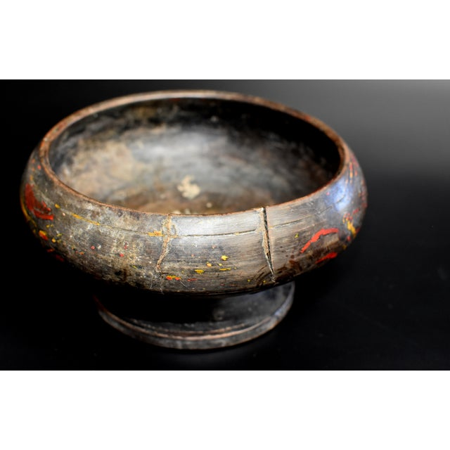 Mid 19th Century Antique Tibetan Wheat Motif Wooden Bowl For Sale - Image 5 of 13