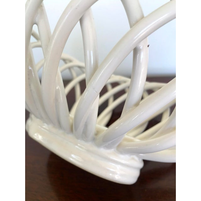 Ceramic Mid 20th Century White Ceramic Open Weave Nesting Bowl Set - a Pair For Sale - Image 7 of 9